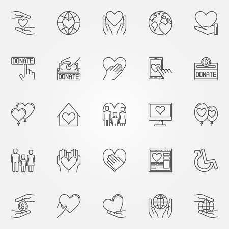charity collection: Charity thin line icons - vector collection of charity and donation symbols Illustration