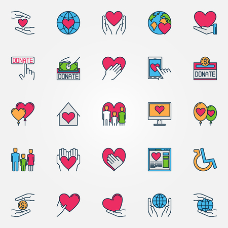 Colorful support and care icons. Flat vector charity symbols. Donation signs