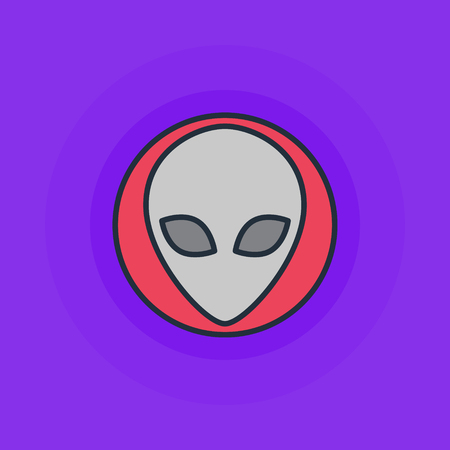 invader: Alien flat icon - vector simple alien or invader symbol or logo element