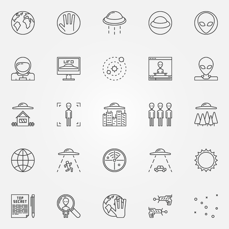 ufology: UFO and alien icons set - space or ufology symbols in thin line style