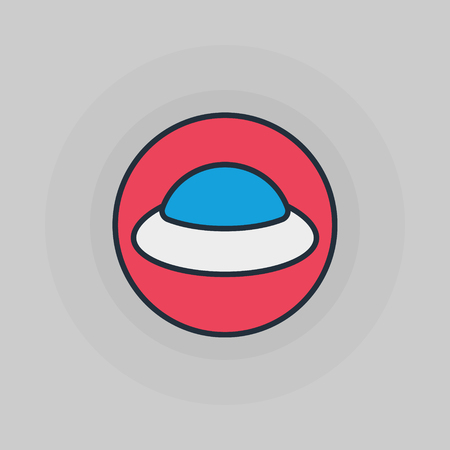 ufology: UFO flat icon - vector simple ufology symbol or spaceship illustration