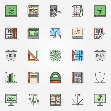 simbolos matematicos: Matem�ticas iconos conjunto - vector de s�mbolos de colores de matem�ticas o signos de �lgebra