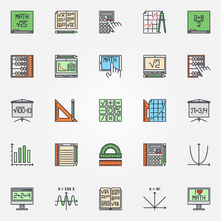 Mathematics Icons Set Vector Colorful Math Symbols Or Algebra