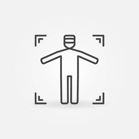 headset symbol: VR concept icon - vector man or human with VR headset in virtual reality symbol or sign