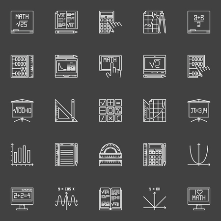 algebra calculator: Mathematics line icons - vector collection of math education signs in thin line style on dark background