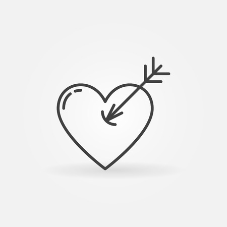 simple logo: Heart with arrow icon - vector simple heart shot symbol. Romantic logo element for your design Illustration