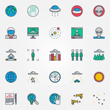 ufology: UFO and aliens icons - vector collection of colorful UFO or ufology signs or logo elements