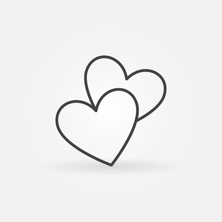 simple logo: Two hearts line icon - vector simple heart symbol or love sign. Linear logo element for wedding