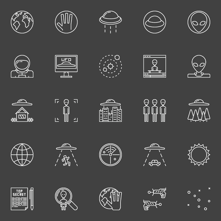 ufology: UFO and ufology line icons - vector linear astronomy symbols or extraterrestrial civilizations signs on dark background Illustration