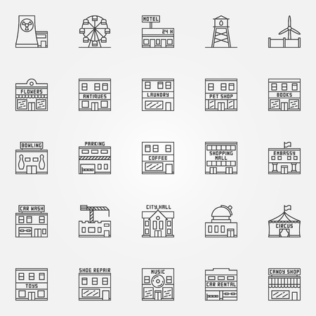 hotel hall: City buildings icon set - collection of town buildings thin line symbols. Circus, bowling, observatory and other linear signs Illustration