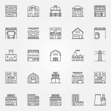 hostel: City buildings icons set. collection of linear building and real estate symbols. Hostel, zoo, barbershop, night club signs in thin line style Illustration