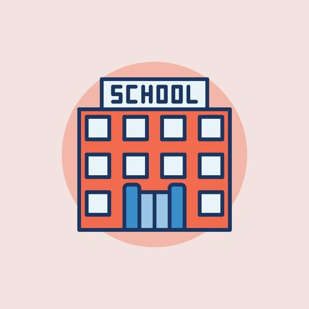 building color: School building flat icon - minimal symbol. Education and school colorful sign on pink background Illustration