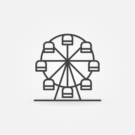 Grande roue icône - mince symbole ligne de carrousel ou signe Banque d'images - 57404618