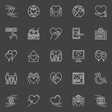 volunteering: Charity and donation icons - set of thin line volunteering signs. Love and care pictograms on dark background Illustration