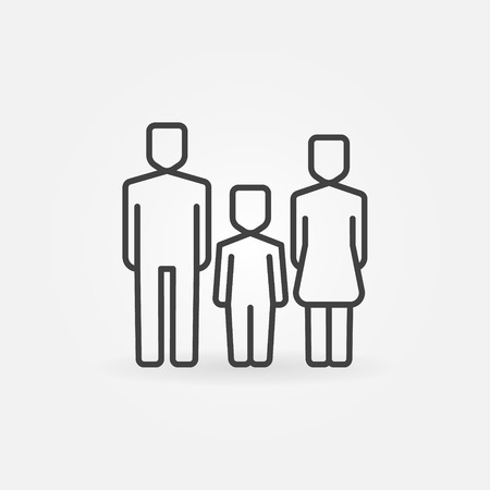 members: Family line icon - man, woman and baby sign. Mother, father and kid symbol. Family thin line pictogram