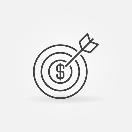 Money goal icon - financial and money target achievement symbol. Linear savings goal sign or element