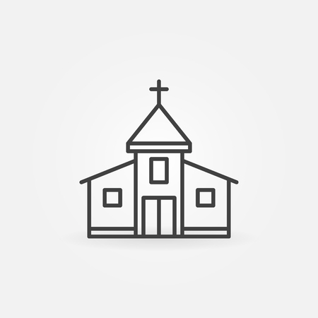 church building: Church building icon - simple symbol. Outline christian church sign Stock Photo