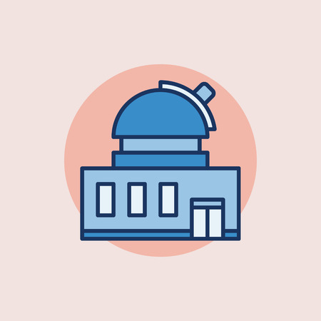astronomical: Observatory building flat icon - blue astronomical observatory with telescope symbol
