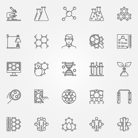 genetic engineering: Biotechnology icons set - vector collection of bio technology and science concept signs in thin line style. Genetic engineering linear symbols