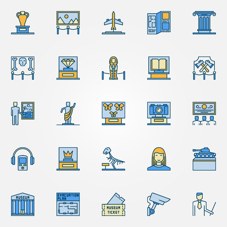 exposition: Colorful museum icons. Vector set of exposition symbols. Flat museum and exhibition signs