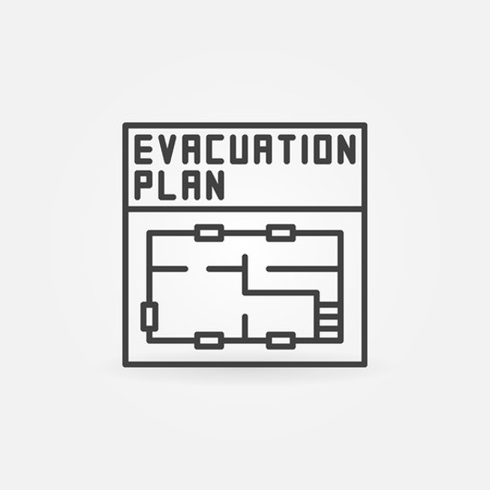 evacuation equipment: Evacuation plan icon - vector linear symbol or pictogram. Minimal thin line plan sign Illustration
