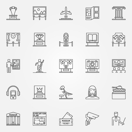 fine art: Museum icons set - vector linear fine art objects symbols. Thin line museum and exhibition signs collection