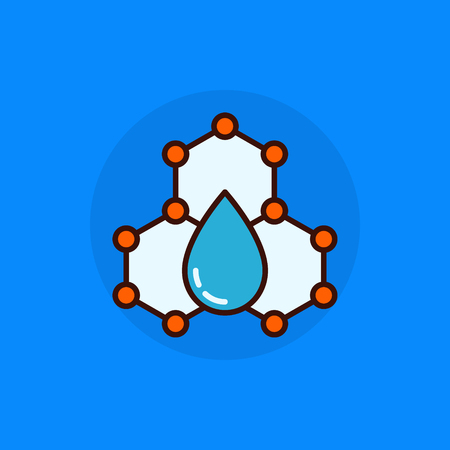water molecule: Water molecule flat concept icon. Vector molecule with water dot colorful abstract symbol or element
