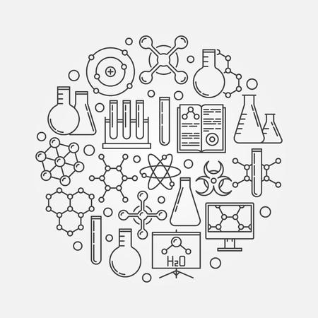 Chemie Vektor-Illustration. Runde Wissenschaft Symbol der dünnen Linie Chemie Ikonen gemacht. Bildung minimal Konzept Vektorgrafik