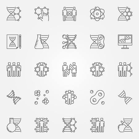 cloning: Human cloning icons set. Vector DNA and science symbols in thin line style. Linear molecular signs or elements