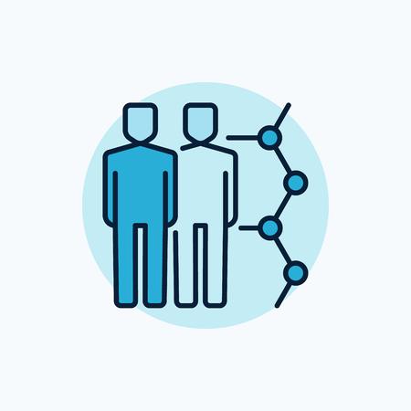 icono vector de clonación humana. Clon colorido símbolo azul. Dos hombres con signo molécula sobre fondo azul