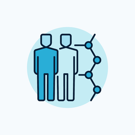 Human cloning vector icon. Clone colorful blue symbol. Two men with molecule sign on blue background