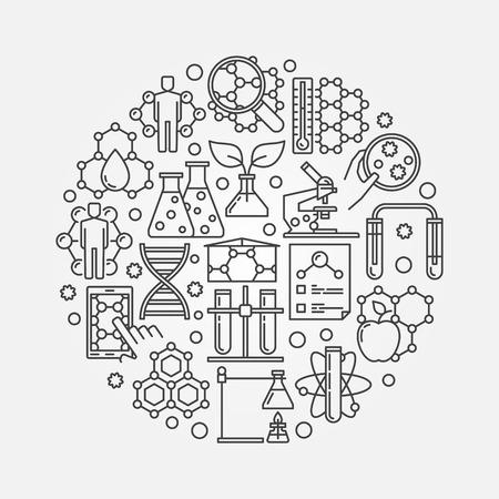 Microbiología y biotecnología ilustración - vector del concepto del símbolo redondo o la muestra hecha de la forma iconos bio tecnología