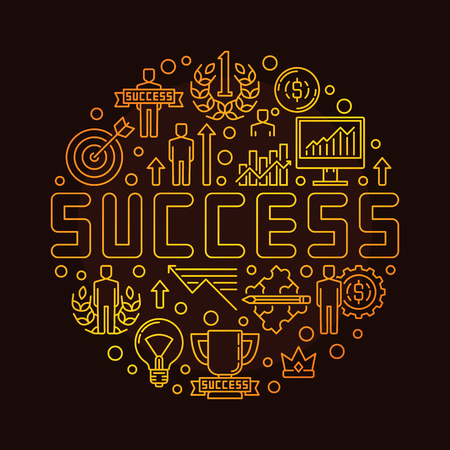 personal development: Round success linear symbol. Vector gold concept symbol made with thin line icons. Personal development and success sign on brown background Illustration