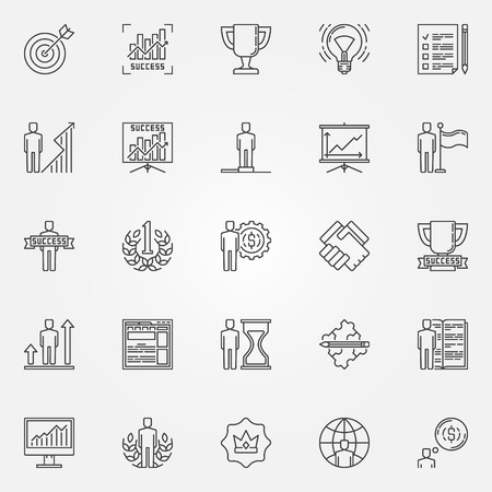 personal development: Success icons linear set - vector collection of personal development concept signs. Thin line business success pictograms Illustration