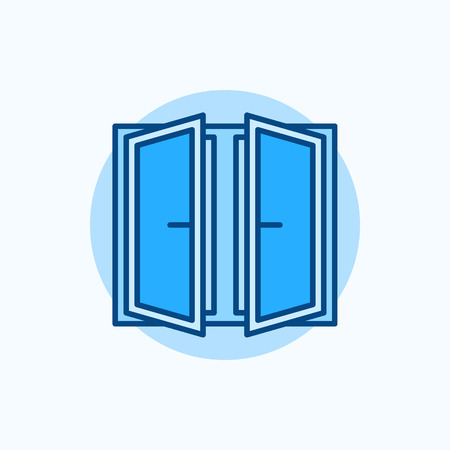 wide open: Wide open window vector icon. Flat blue concept window symbol Illustration