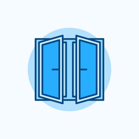 open window: Wide open window vector icon. Flat blue concept window symbol Illustration