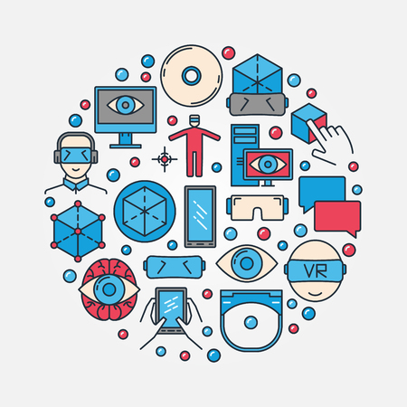 Virtual Reality round illustration. Colorful VR flat vector concept symbol or technology sign