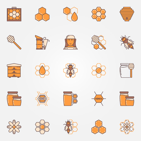 Beekeeping and apiary colorful icons. Vector flat honey and honeycomb symbols. Collection of bee, beekeeper, beehive yellow signs Illustration