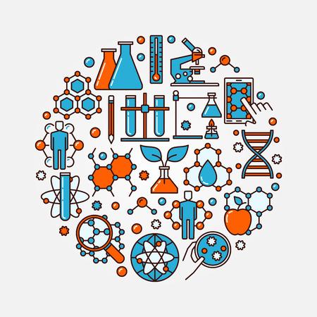 Biotecnología símbolo plano y redondo. la ciencia y la química del vector concepto de ilustración. La biología molecular colorido del signo