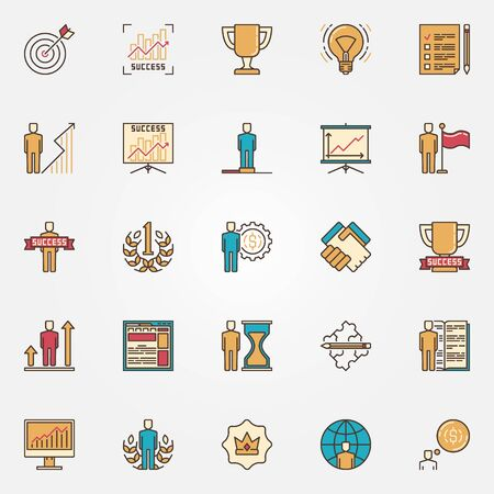 self development: Colorful success icons. Vector flat self development symbols. Success in business signs