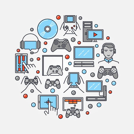 gamers: Gamers round illustration. Vector colorful gamer symbol made with gaming icons. Flat with video game consoles and videogames sign Illustration