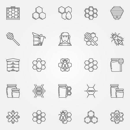 apiarist: Honey and beekeeping icons set. Vector collection of apiary linear symbols. Beekeeping thin line signs or elements Illustration
