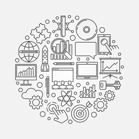 smart goals: Innovation round symbol. Vector business innovation concept illustration made with linear icons Illustration