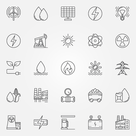 wind power: Energy icons set. Vector linear energy and power symbol or logo elements. Industrial thin line signs