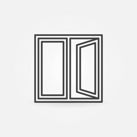 window sign: Window outline icon. Vector open window sign or pictogram in thin line style Illustration