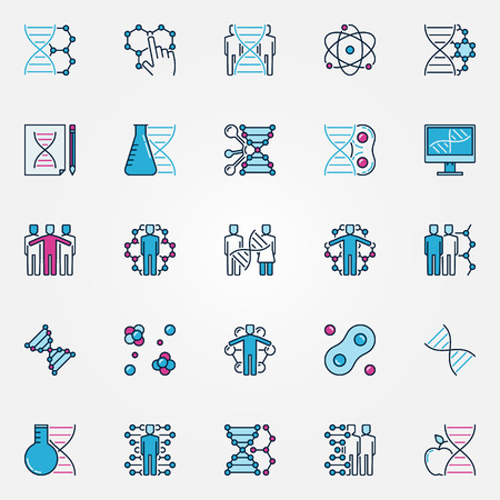 cloning: Colorful bio-tech icons. Vector flat human cloning and DNA signs. Biotechnology and genetic concept symbols