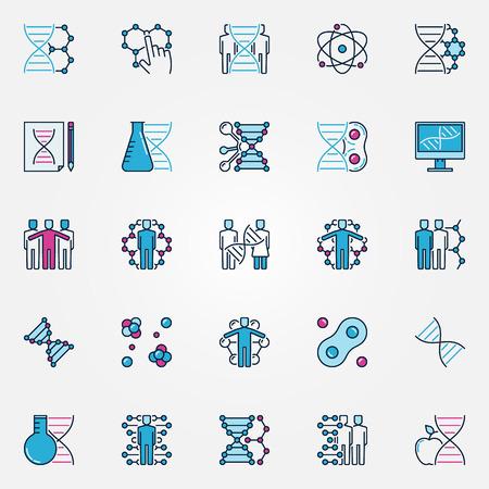 clonacion: Los iconos de colores de biotecnolog�a. Vector de clonaci�n y planos de ADN signos humanos. Biotecnolog�a y s�mbolos concepto gen�ticos