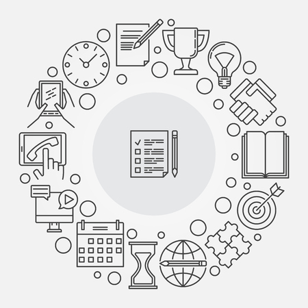todo list: To do list illustration. Vector round to-do list and planning linear symbol. Checklist creative sign in thin line style Illustration