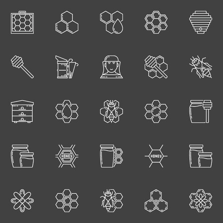 apiarist: Apiary linear icons. set of honey, bee, bee house, honeycomb outline signs on dark background Illustration