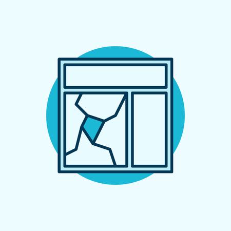 Gebroken vensterglas icoon. blauw gebroken raam begrip symbool of logo element